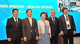 Madame Nguyễn Thị Nga báo cáo với Lãnh đạo cấp bộ trưởng ASEAN về tầm quan trọng của Giải thưởng Doanh nghiệp ASEAN (ABA) 2020